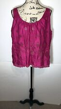 Vanessa Virginia Shiny Swiss Dot Blouse Size 10 Pink Floral