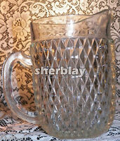 Vintage Indiana Glass Diamond Point Clear Crystal Water Pitcher Pressed 64oz