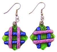 DICHROIC Glass EARRINGS Green Pink Blue Striped Patterned Dangle - Surgical 1""