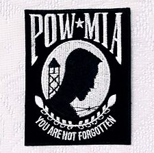 POW MIA You Are Not Forgotten Embroidery Patch Veteran War Black Iron On Vietnam