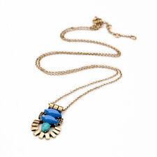NEW Modern Anthropologie Adelene Petite Blue Teal Bead Long Golden Necklace