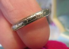 18K BELAIS ANTIQUE ART DECO FLORAL WEDDING ETERNITY BAND ANNIVERSARY RING