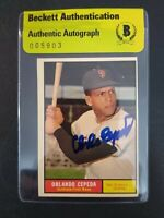 Orlando Cepeda 1961 Topps #435 Signed Autographed Giants HOF Beckett BAS