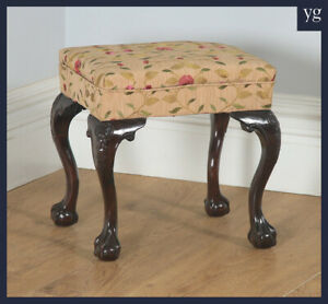 Antique English Georgian Chippendale Style Solid Mahogany Upholstered Stool