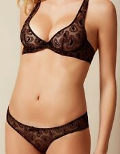 Agent Provocateur GINA BRA & BRIEF in BLACK TULLE & GOLD - 32C /AP Size 2 - BNWT