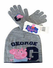 Boys Peppa Pig GEORGE Luxury Knitted Beanie Hat & Gloves Set Grey Age 3-8 Years