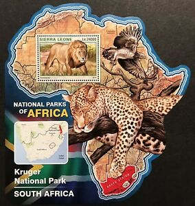 SIERRA LEONE WILD ANIMALS MAP SHAPED STAMPS SS '16 MNH NAT PARKS AFRICA LION