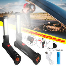 2x Rechargeable COB LED Flashlight Work Light Folding Lamp Magnetic Torch 18650