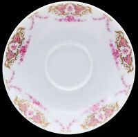 Limoges France J. Seignolles Hand Painted Pink /Gold Floral Saucer