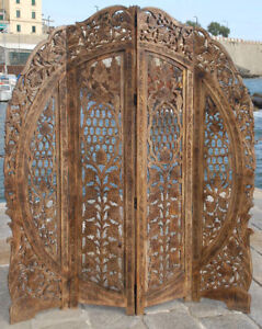 PARAVENT 4 PANEL HEADBOARD HAND CARVED WOODEN SCREEN ROOM DIVIDER FREE P & P  R