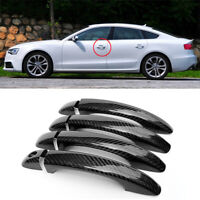 Carbon Fiber Exterior Door Handle w/o Smart Key Cover Overlay Trims For Audi S5