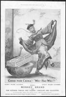 1898 Antique ADVERTISING Print - BROOKES Monkey Brand Soap Good For China (218)