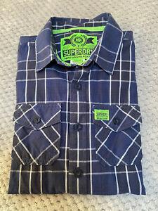 Superdry New Washbasket Men's Blue Check button front Shirt ~ Size Medium