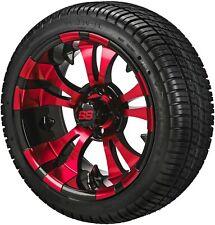 4 Golf Cart 205/30-14 DOT Tires  on  14x7 Black/Red Vampire Wheels Free Freight