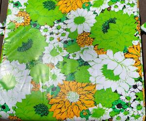 """Vtg Chaise Beach Pool Chair Pad Vinyl Orange Green Floral 18.5"""" X 70"""" NIP"""