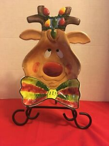 Clay Art 2003 Reindeer Candy Dish Clay Art
