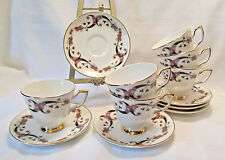 Royal Tara Ireland Fine Bone China CLONFERT Six (6) Cup & Saucer Sets