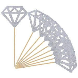Topoox 50 Pack Cupcake Toppers Silver Glitter Diamond for Bridal Shower Party...