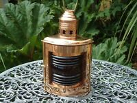 Ships PortSide Solid Copper Lantern -Oil Lamp - Port Side star board Red Brass