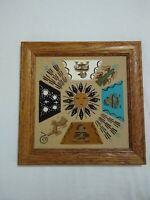 Navajo Native American Sand Painting 10x10 wood framed art.
