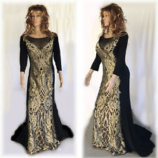 Designer Terani Couture Special Occasion Gown Black Gold Womens 14W NWT $698