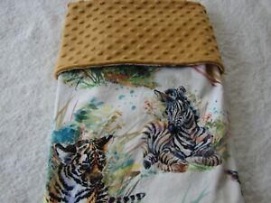 Jungle Animals Multicoloured Reversible Minky Handmade Blanket