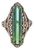 Turkish Handmade Emerald Topaz Vintage Carved Patterned Women Ring Size 6-10