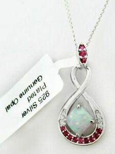 GENUINE 0.78 Cts OPAL & RUBY PENDANT NECKLACE 925 Silver PLT ** NEW WITH TAG