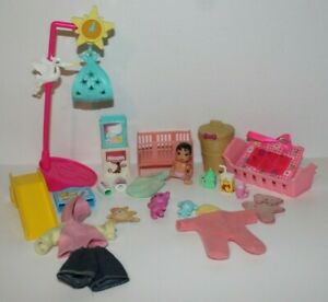 Lot 22pc BarbieBaby Krissy Doll, Stork Scale, Baby & Kelly Outfit, Accessories