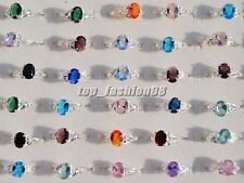 Wholesale Lots Wedding Party 8PCS Zircon Stamp S925 Silver Plated Rings FREE