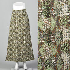 Small 1970s Homemade Wool Tweed Maxi Skirt Unique Green Brown Vintage Long Skirt