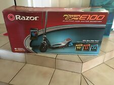 Razor Power Core E100 Electric Scooter with Black Deck - Blue