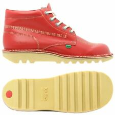 KICKERS KICK HI LEATHER BOOTS RED CHUNKY RUBBER CASUAL SMART MEN'S NEW FRANCE