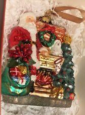 Santa's Warm Wishes Polonaise Blown Glass Christmas Ornament Poland