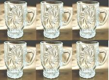 Set Of 6 Crystal Glass Clear Designer Cut Tea Coffee Cup Short Tea Cups