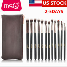 US Delivery MSQ PRO 12PCs Makeup Brush Set Rose Gold Eye Cosmetic Tool Wood Case