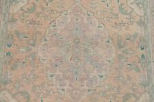 Vintage Muted Geometric Pale Peach Distressed Area Rug Hand-made Wool Carpet 3x5