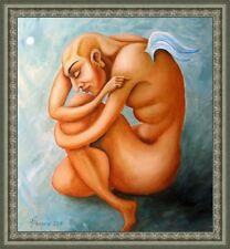 Painting original Oil canvas CONTEMPORARY ART ,impressionism , modern NUDE ANGEL