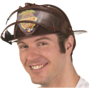 Red Plastic Fireman Helmet With Visor Firefighter Fire Costume Halloween Gift