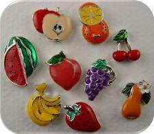 2 Hole Beads Fruit Apple Cherry Strawberry Orange Peach Watermelon Sliders QTY 9