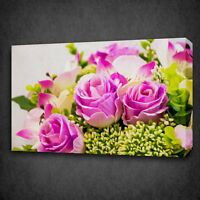 PINK ROSES GREEN LEAVES PAINTING STYLE CANVAS PRINT WALL ART PICTURE PHOTO