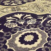 Sold By Metre Fabrics New Modern Elegant Medallion Pattern Quality Weight Velvet Black Colour Furnishing Upholstery Fabric