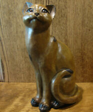 "Wood Look Sitting Cat Figurine from Transpac #D6012A 11.5"" NIB From Retail Store"