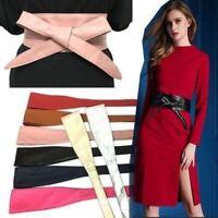 Quality Women Faux Leather Wrap Around Self Tie Obi Corset Cinch Waist Band Belt