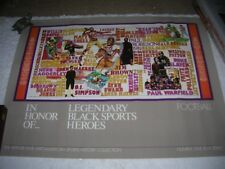 LEGENDARY BLACK SPORTS HEROE'S VINTAGE POSTER 1988 ARTHUR ASHE FOUNDATION