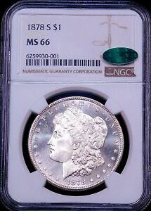 1878-S Morgan Silver Dollar NGC MS66 CAC Blast White Semi-Cameo Just Graded G419