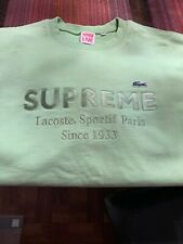 Supreme x Lacoste green crewneck, size L, Pre-Owned, LIKE  New