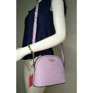 Kate Spade Frozen Lilac Hollie Spade Clover Geo Embossed Leather Crossbody Bag