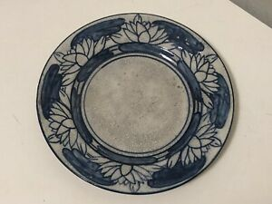 "Dedham Pottery LILY PAD Pattern 6"" Plate Antique Crackleware Rabbit Mark Lilies"