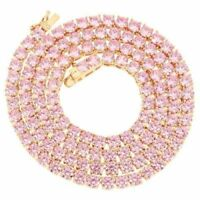 """Vintage 27Ct Rd Pink Brilliant Sapphire 18k Yellow Gold Over Tennis 16""""Necklace"""